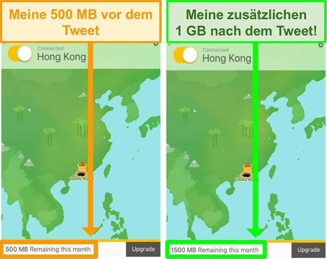 Screenshot von TunnelBear mit 1 GB zusätzlichen Daten zum Twittern