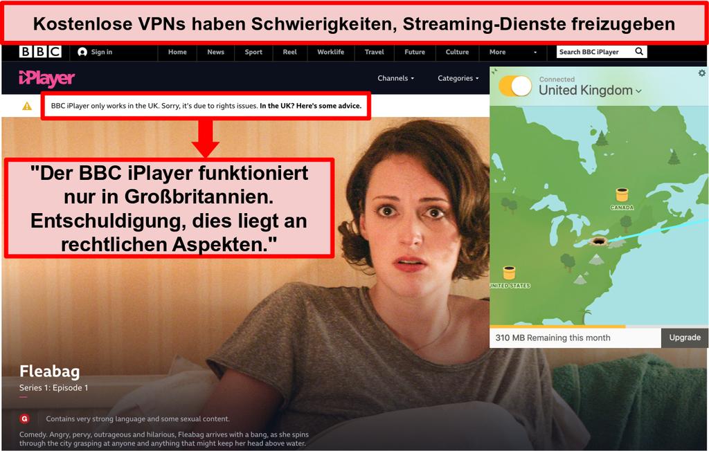Screenshot von TunnelBear, der mit einem britischen Server verbunden ist und nicht auf BBC iPlayer zugreifen kann
