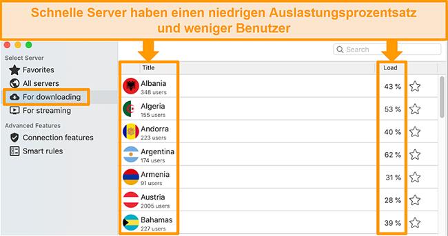 Screenshot der CyberGhost-App und der Serverliste