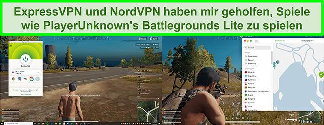 Vergleichs-Screenshots eines Benutzers, der PlayUnknowns Battlegrounds Lite spielt, während er mit ExpressVPN bzw. NordVPN verbunden ist
