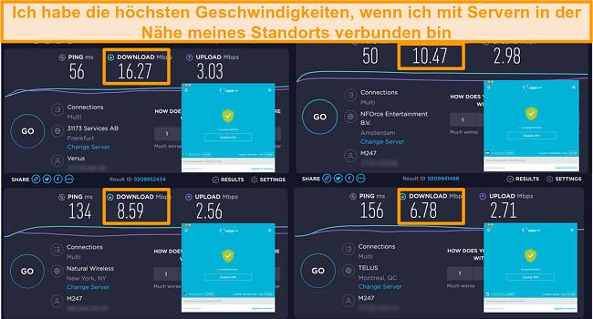 Screenshot von Hide.me VPN, das mit Servern in Deutschland, den Niederlanden, den USA und Kanada verbunden ist, und Geschwindigkeitstestergebnisse