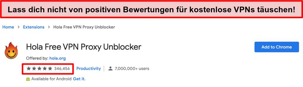 Screenshot von Hola Free VPN Proxy Unblocker im Google Chrome Extensions Store