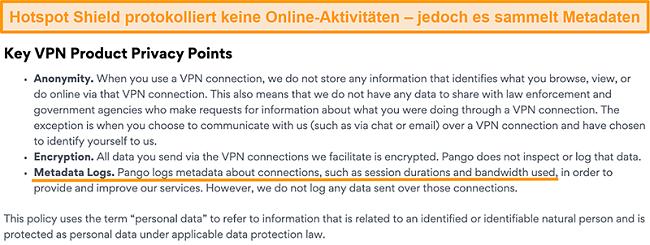Screenshot der Datenschutzrichtlinie von Hotspot Shields