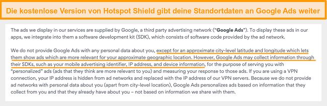 Screenshot der Datenschutzbestimmungen von Hotspot Shield für Google Ads