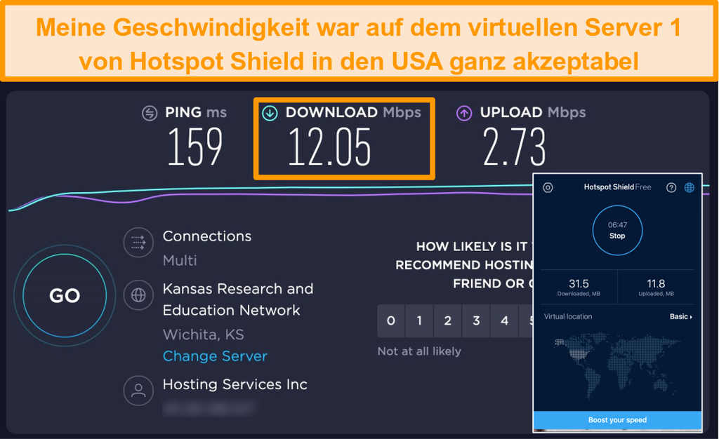 Screenshot der kostenlosen Version von Hotspot Shield auf einem Mac, der mit einem US-Server verbunden ist, mit Geschwindigkeitstestergebnissen