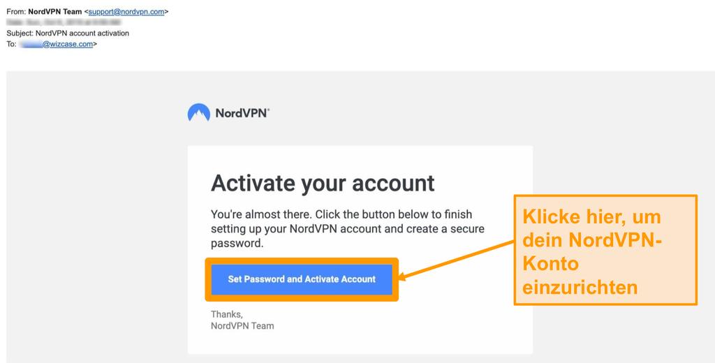 Screenshot der NordVPN-Kontoaktivierungs-E-Mail