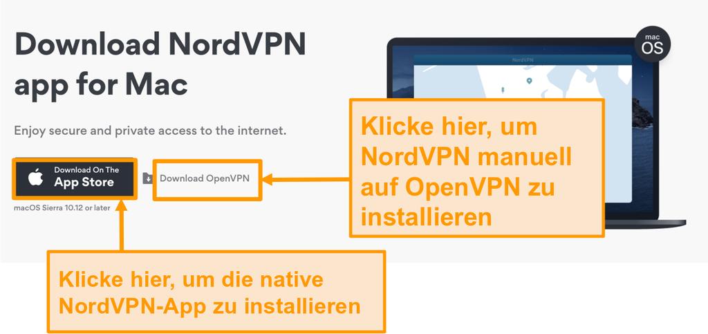 Screenshot der Download-Seite von NordVPN für App Store App oder OpenVPN App