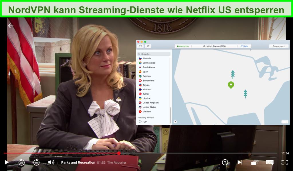 Screenshot von Netflix US beim Spielen von Parks and Recreation mit NordVPN, das mit einem US-Server verbunden ist