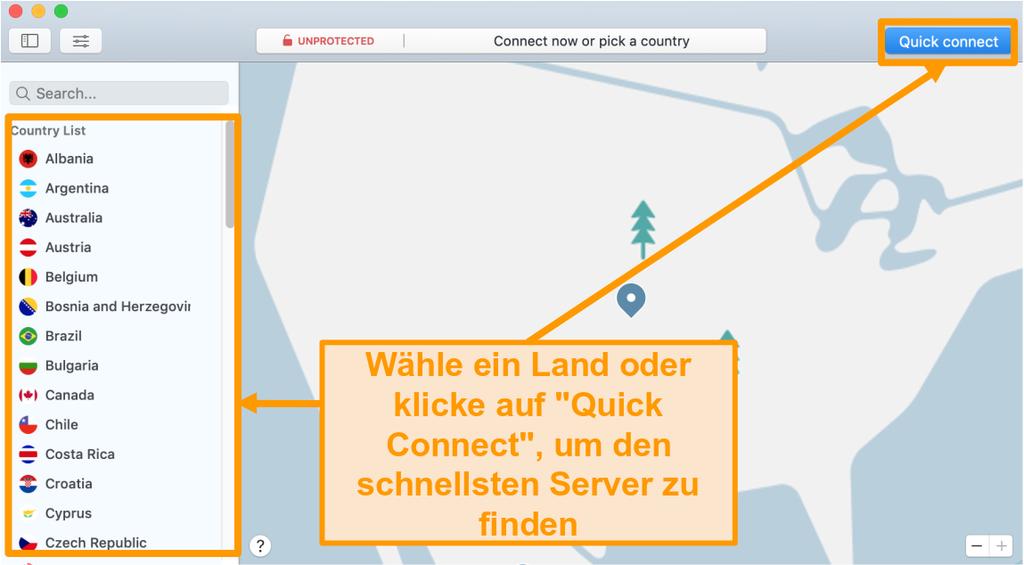Screenshot der NordVPN App auf dem Mac mit Quick Connect und Serverlistenoptionen