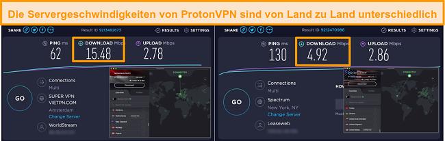 Screenshot von ProtonVPN in Verbindung mit den Niederlanden und den USA mit Geschwindigkeitstestergebnissen