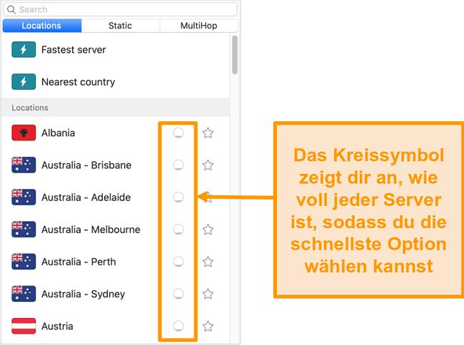 Screenshot der Serverliste von Surfshark mit der Serverlast
