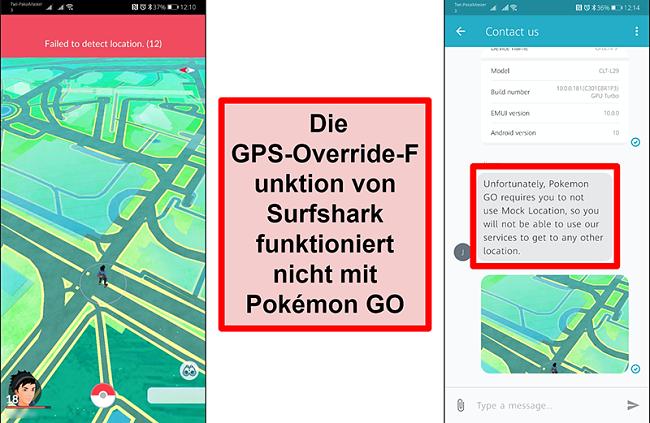 Screenshots des Surfshark-Kundendienstes, in denen bestätigt wird, dass Pokémon Go nicht mit GPS-Spoofing funktioniert. Der Screenshot von Pokémon Go zeigt, dass der aktuelle Standort nicht erkannt werden konnte