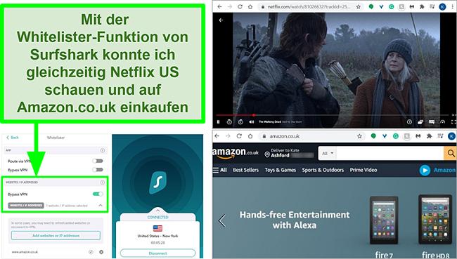 Screenshots von Netflix US und Amazon UK werden aufgrund der Whitelister-Funktion von Surfshark gleichzeitig verwendet
