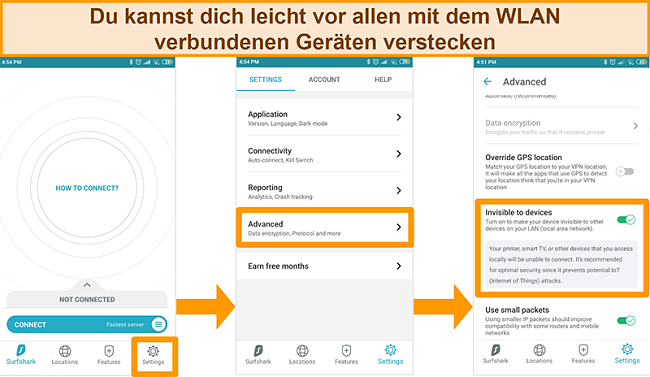 Screenshot der für Geräte unsichtbaren Surfshark-Funktion in der Android-App