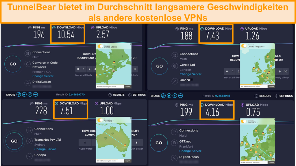 Screenshot der Server von TunnelBear in Deutschland, Großbritannien, den USA und Australien sowie Ergebnisse der Geschwindigkeitstests