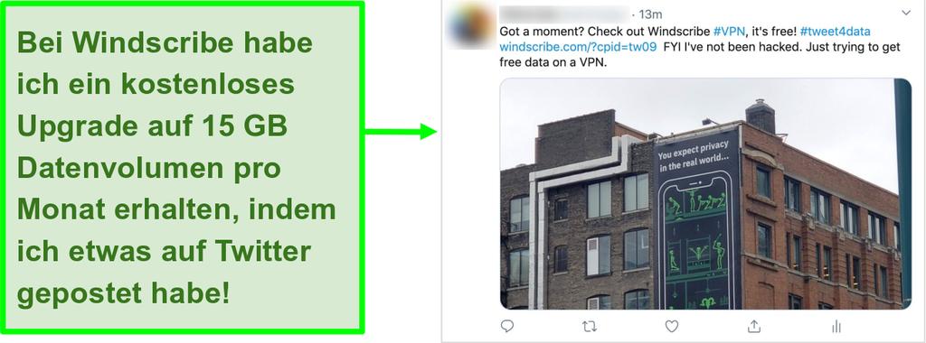 Screenshot eines Twitter-Posts, der für Windscribe VPN wirbt, für jeden Monat 15 GB kostenlose Daten