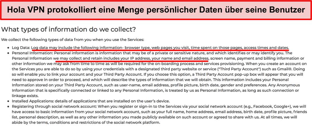 Screenshot der Hola VPN-Datenschutzrichtlinie, in der die IP-Adresse protokolliert wird