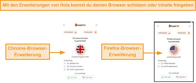 Screenshot der Chrome- und Firefox-Browsererweiterungen von Hola VPN