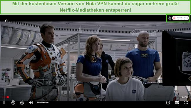 Screenshot von Hola VPN, das The Martian auf Netflix US entsperrt