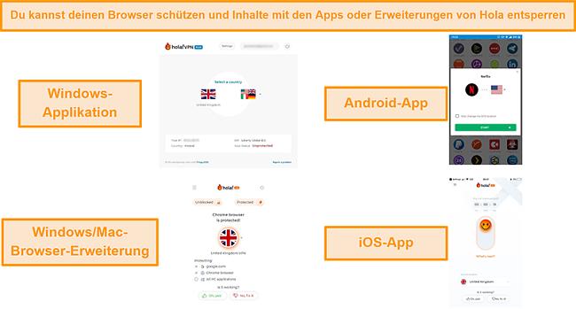 Screenshot der Windows-, Android- und iOS-Apps von Hola sowie der Chrome-Browsererweiterung für Windows und MacOS