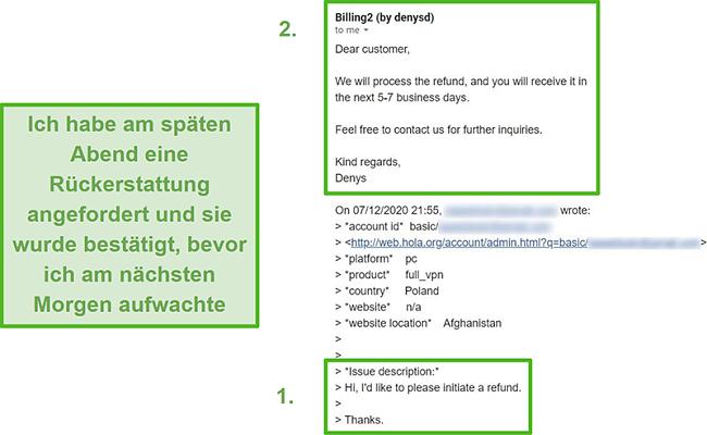 Screenshot einer E-Mail von Hola VPN, die eine Rückerstattung innerhalb von 10 Stunden nach der ursprünglichen Anfrage bestätigt