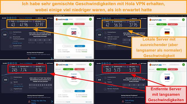 Screenshot von Hola VPN-Geschwindigkeitstests aus Großbritannien (47 Mbit / s), Deutschland (56 Mbit / s), den USA (7 Mbit / s) und Australien (5 Mbit / s)