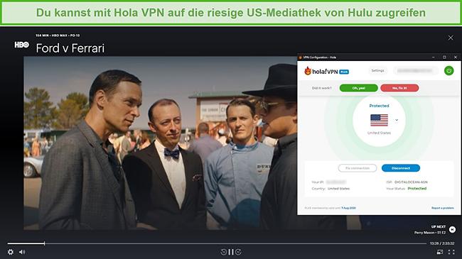 Screenshot von Hola VPN, das Ford gegen Ferrari auf Hulu entsperrt