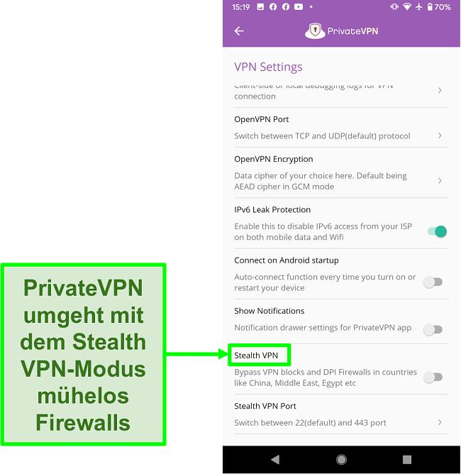 Screenshot der PrivateVPN-Android-App mit der Stealth-VPN-Funktion, mit der VPN-Blöcke umgangen werden können