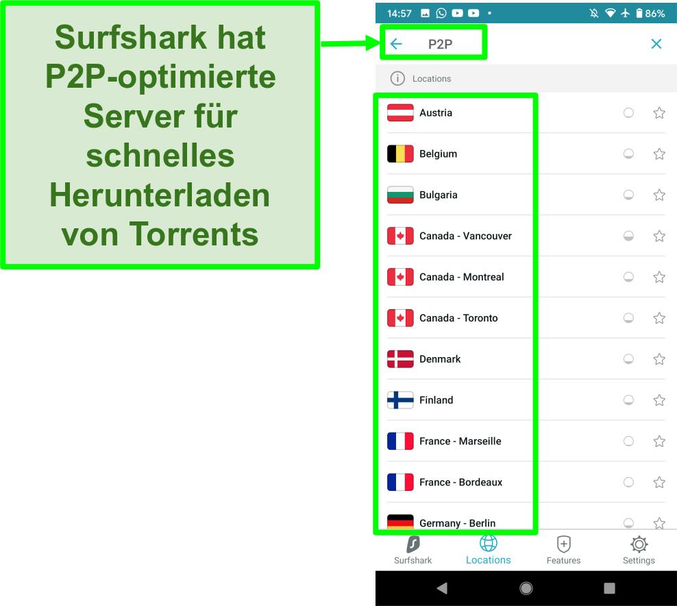 Screenshot der Surfshark VPN Android App mit P2P-optimierten Servern für schnelles Torrenting