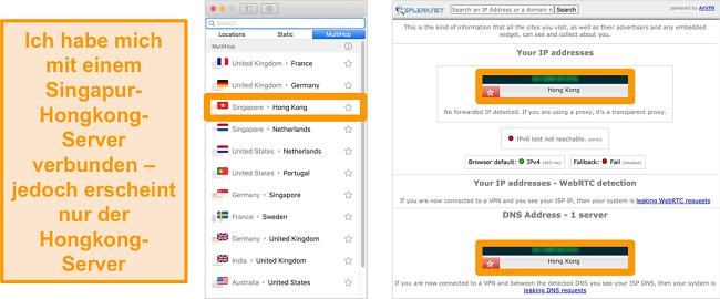 Screenshot des SurfHark MultiHop-Servers (Doppel-VPN) für Singapur und Hongkong sowie Lecktestergebnisse, die nur den sichtbaren Hongkong-Server zeigen