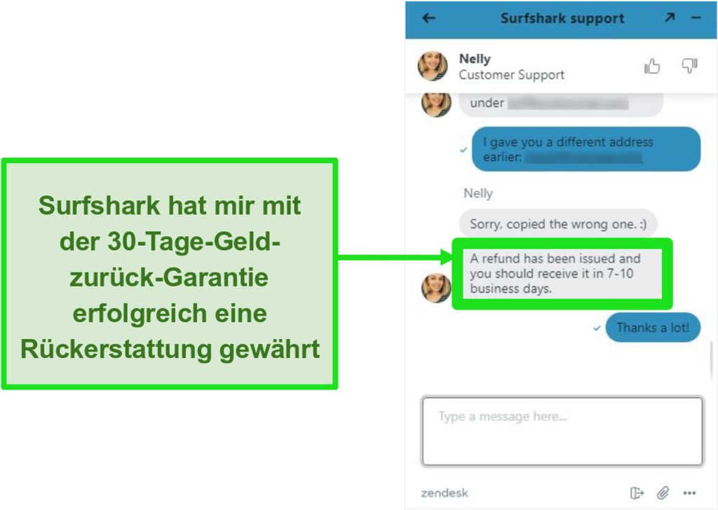 Screenshot des Surfshark Live Chats und eine Rückerstattungsanfrage