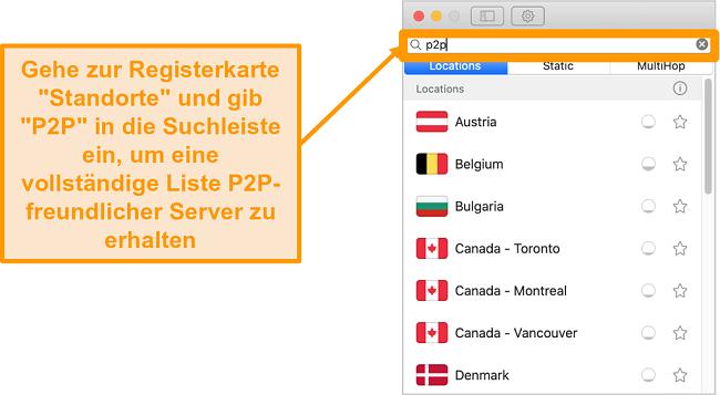 Screenshot der P2P-Server von Surfshark auf der Mac-App