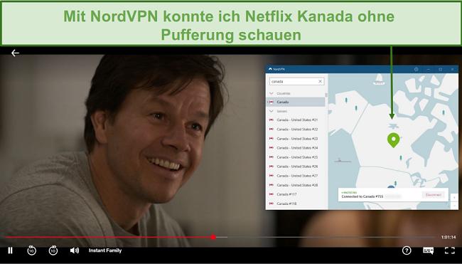 Screenshot von NordVPN, das Netflix Canada beim Spielen von Instant Family entsperrt