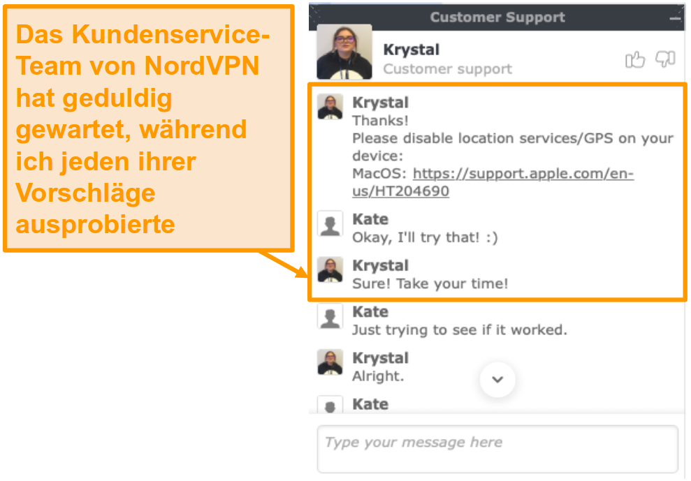 Screenshot der Live-Chat-Funktion des NordVPN-Kundensupports