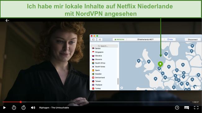 Screenshot des Streaming lokaler Inhalte auf Netflix Niederlande mit NordVPN