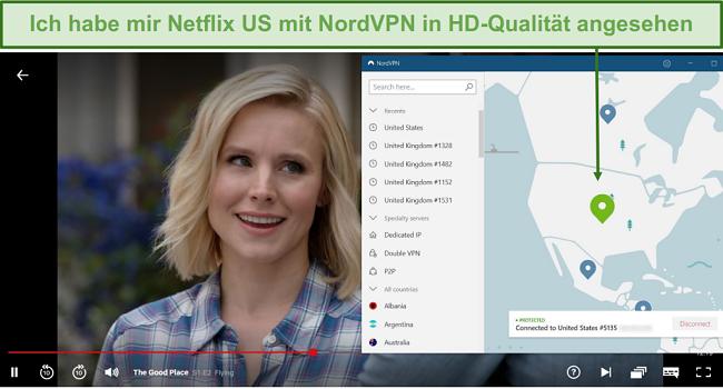 Screenshot des Streaming von The Good Place auf Netflix mit NordVPN, das mit einem US-Server verbunden ist