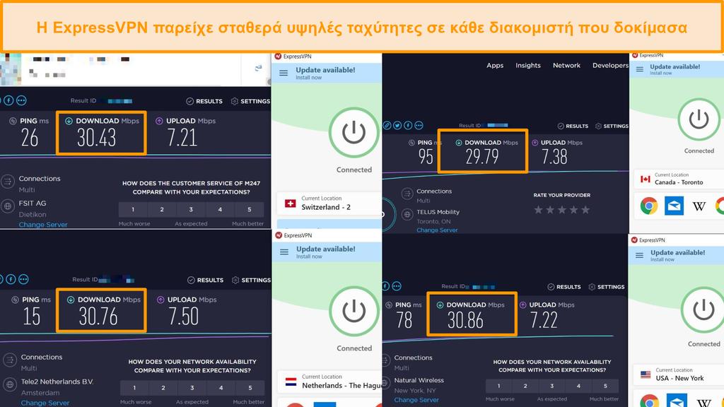 Στιγμιότυπο οθόνης σύγκρισης ταχύτητας μεταξύ διαφορετικών διακομιστών ExpressVPN