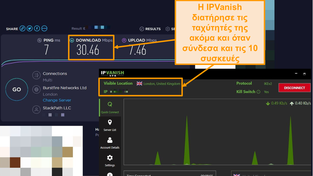 Στιγμιότυπο οθόνης δοκιμής ταχύτητας με σύνδεση IPVanish