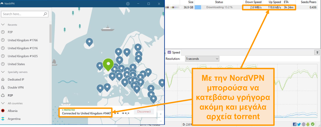Στιγμιότυπο οθόνης λήψης ενός αρχείου torrent ενώ είστε συνδεδεμένοι στο NordVPN