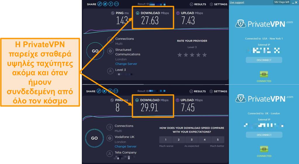 Στιγμιότυπο οθόνης σύγκρισης ταχύτητας PrivateVPN