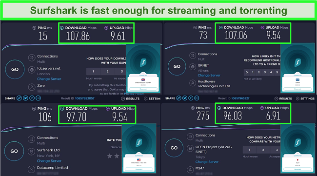 Screenshots of Ookla speed test results with Surfshark connected to different global servers.