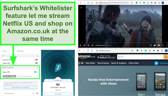 Screenshots of Netflix US and Amazon UK being used at the same time due to Surfshark's Whitelister feature.