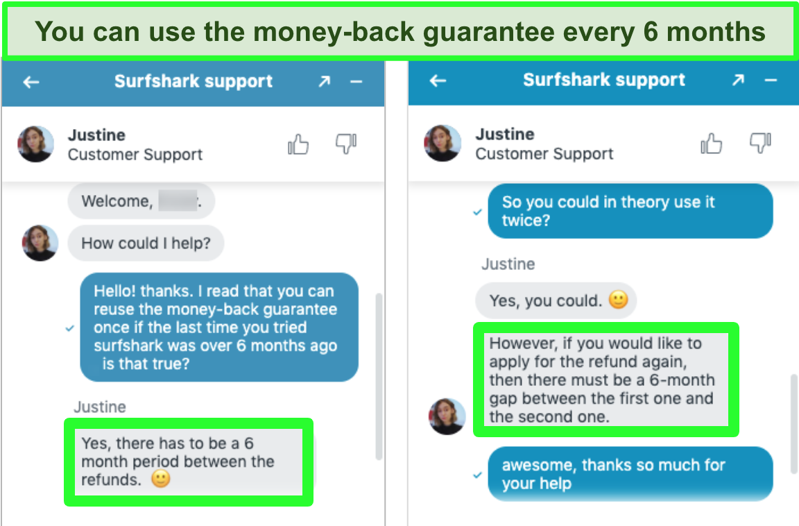 Screenshot of Surfshark customer service conversation over live chat confirming the use of the money-back guarantee more than once.