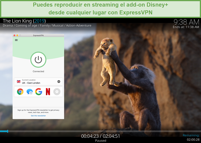 Captura de pantalla de la transmisión de Disney Plus en Kodi mientras está conectado a un servidor ExpressVPN en el Reino Unido