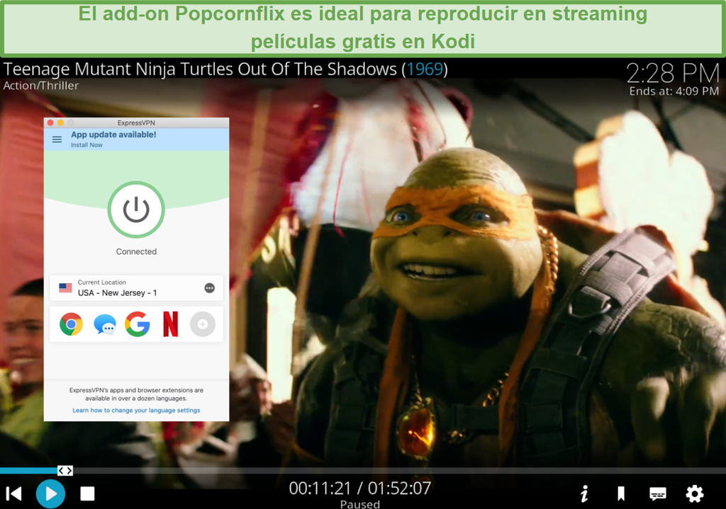 Captura de pantalla de la reproducción de TMNT a través de Popcornflix en Kodi