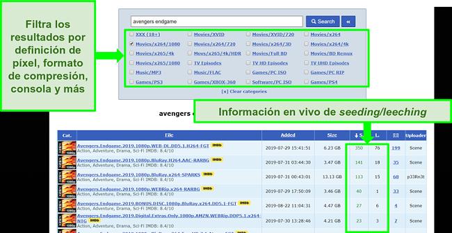 Captura de pantalla de la página de búsqueda RARBG