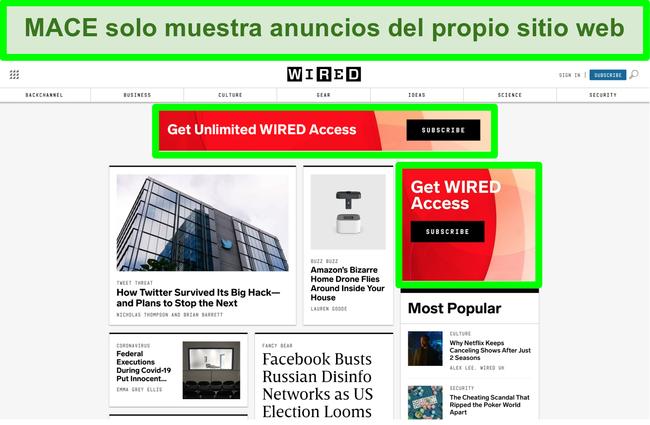 Captura de pantalla de MACE que bloquea la mayoría de los anuncios en el sitio web Wired