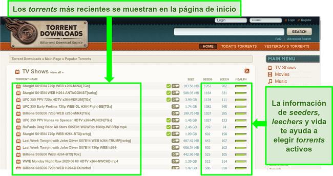 Captura de pantalla de la página de inicio de TorrentDownloads