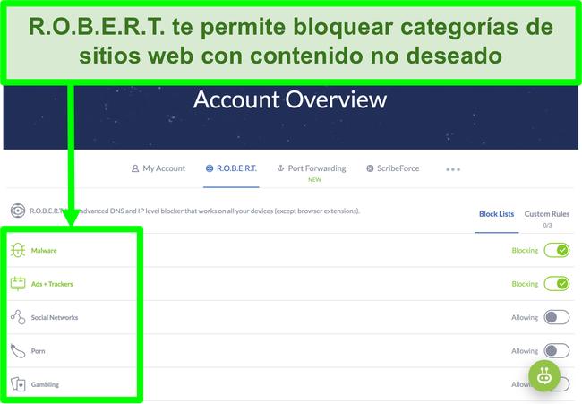 Captura de pantalla de la página de configuración de Winscribe que muestra opciones para bloquear anuncios, malware y categorías de sitios web