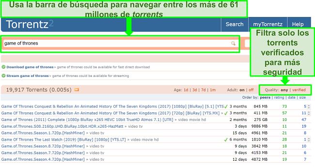 Captura de pantalla de la página de búsqueda de Torrentz2